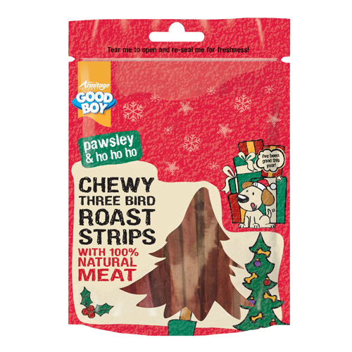 Christmas Goodboy Pawsley 3 Bird Roast Strips 100g