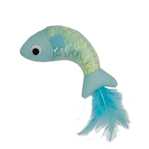 Happy Pet Mermaid Cat Fish Toy Blue
